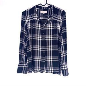 LOFT Button Down Shirt Blouse Checkered Top LARGE